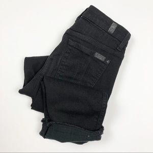 7FAM | Black Ankle Straight Jeans w/ Raw Hem